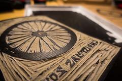 Lino Cut Christmas Print (adambowie) Tags: bicyclewheel christmas christmas2016 handprinted lino linocut print wrappingpaper