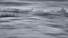 Palace Pier with a Twist 2 (Sue MacCallum-Stewart) Tags: palacepier brighton multipleexposure icm blur abstract seascape coast blackwhite