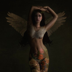 Devil of an Angel ('_ellen_') Tags: angel tattoo flowers long hair wings woman arms top head