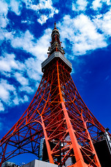 Tokyo Tower in The Blue Sky : 青空に東京タワー (Dakiny) Tags: 2017 spring april japan tokyo minato minatoward park garden shibapark city street outdoor landscape architecture japanesearchitecture tower red blue sky nikon d7000 sigma 1770mm f284 dc os hsm sigma1770mmf284dcmacrooshsm nikonclubit