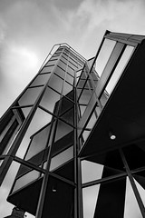 Architecture West End EPMG  (19 of 20) (Philip Gillespie) Tags: architecture edinburgh scotland mono buildings city sky spring form shape angles reflections clouds modern