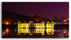 The glowing glory of the Jal Mahal! (FotographyKS!) Tags: jalmahal jal mahal waterpalace palace mansagarlake evening twilight panorama amer jaipur amber citylights night reflection water longexposure smooth architecture heritage scenery ancient attraction calm famous historic illuminated india rajasthan landmark majestic hindu religion outdoor peaceful reflect sightseeing tourism architectural asia exterior horizontal hills mountain landscape nature rajput sagar temple nahargarhhills