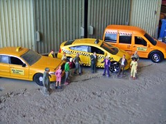 Grand Reopening 4/20/2017 (THE RANGE PRODUCTIONS) Tags: greenlight matchbox fordcrownvictoria toyota fordtransit taxi cab hoscalefigures 164scale ertl dioramas diecast diecastdioramas model toy