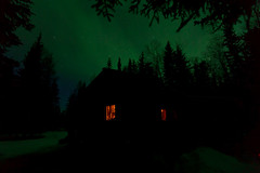 042017 - Aurora glow over the cabin - 230am (Nathan A) Tags: alaska ak fairbanks salcha northstar river spring cold ice snow night aurora auroraborealis northernlights nightsky stars farnorth geomagnetic green logcabin cabin nature outdoors beauty skygazing
