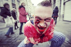 Zombies show us the threat everyday people pose to the world. (Red Cathedral uses albums) Tags: instagramapp square squareformat iphoneography uploaded:by=instagram amaro zombie bifff zombifffday undead twd zombifff brussels bruxelles thewalkingdead zombieparade bruxellesamabelle travellingphotographer horror blood straitjacket creepy showmesininster wanderlust inspirational digitalnomad zombiewalk streetphotography shoptillyoudrop