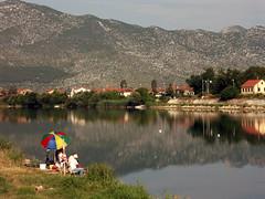 Fishing in Metkovic, Croatia (My Best Images) Tags: metkovic croatia fishing river parasol