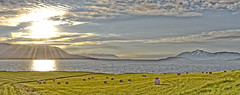 Midnight Sun. (Thor Hilmarsson) Tags: eyjafjörður iceland midnightsun sun sky midnight landscape ocean water clouds sunshine weather nikond3300 nikon scenic mountain grass farm rural countryside country north
