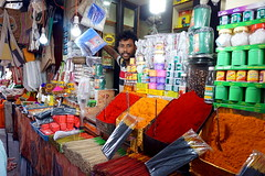 """come see my shop!"" (simon-r-) Tags: mysore mysuru india karnataka 2017 inde indien south april summer market bazaar devarajamarket shop seller merchant vendor man world travel life people street photography indian colours colour incensesticks oil powder products portrait الهند السوق sony alpha ilce 5000"