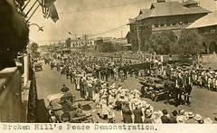 Peace demonstration in Broken Hill, N.S.W. - WW1 (Aussie~mobs) Tags: brokenhill australia vintage newsouthwales australiannativesassociation ana peacedemonstration ww1 march parade