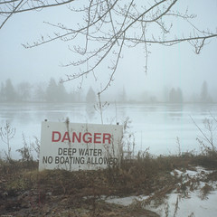 There Be Danger in the Fog (BunnySafari) Tags: film fog yashica124g filmcamera fpp guelph on jaillands winter damp thebleak warning shootfilm