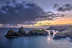 Fallen Peaches (pauldunn52) Tags: kynance cove cornwall sunset blue sea cliffs stacks cloud lizard