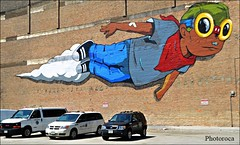 Chicago. (Photoroca) Tags: street graffitti dibujo big wall bigwall chicago coches parking vistas volar guy boy superboy