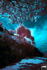 Cliff in Main Beach [IR] (Sunny Merindo | Photography) Tags: shadow sea summer sky cliff black tree beach leaves clouds mono tali philippines infrared smerindo sunnymerindo schultzpax schultpax sunnymerindoimages