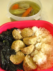 bento 5.8.13 (mamichan) Tags: mushroom turkey soup rice pork carrot bento eats leek kale meatball shiitake localeats