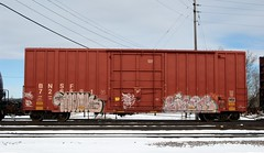 monk sizes (Youra Dick) Tags: winter train graffiti stock boxcar freight bnsf rolling reefer mainline
