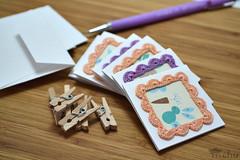 Mini greeting card set (mohu mohu) Tags: dainty kawaii greeting card notecard blank square stationery set handmade mohu crochet frame pastel purple orange peach spring summer bunny bunnies