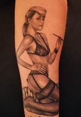Pin up (Veracruz Tattoo) Tags: woman white black sexy stockings girl beautiful up tattoo torino donna pin underwear tights lingerie cruz e bella vera bianco nero ragazza tatuaggio completo intimo suspender tatuagg