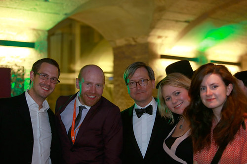 Chris Fujiwara with guests at the opening night party of the 67th Edinburgh International Film Festival