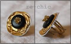 Gold Nespresso Ring (re-chic) Tags: beads handmade jewelry bijoux ring button recycle nespresso gioielli anello perline bottoni riciclo rechic