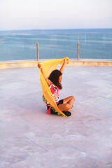 Eva on the Roof (val vaynerman) Tags: pink sunset sea portrait girl yellow eva odessa ukraine blacksea kidsfashion koblevo