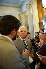 "Senator speak with reporters after the meeting with the POTUS • <a style=""font-size:0.8em;"" href=""http://www.flickr.com/photos/32619231@N02/9408324357/"" target=""_blank"">View on Flickr</a>"