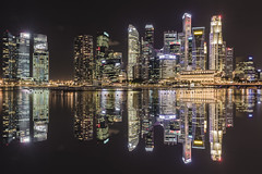 Dark night @ Singapore (Hut Too) Tags: city longexposure reflection water marina photoshop landscape bay nikon singapore cityscape artificial reflect illusion 2818n