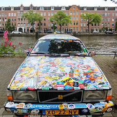 A Volvo driver with odd habits (Bn) Tags: auto old holland art netherlands strange beautiful car amsterdam modern speed work out advertising freedom volvo weird canal stand crazy nikon sticker european unique kunst name jacob parking protest decoration creative nederland plat