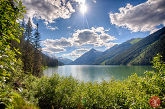 Hidden lake (Kasia Sokulska (KasiaBasic)) Tags: travel light summer sky mountain lake canada color nature beauty clouds landscape rockies bc rockymountains