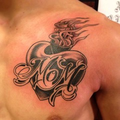 mom heart chest tattoo by wes fortier