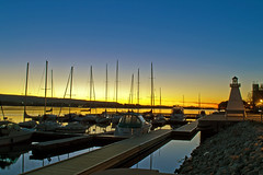 Last Rays of Light (Fire Fly5) Tags: light sky docks collingwood harbour rays sailboats beacon afterglow