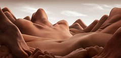 natural illusion (WearTheChange) Tags: sky people mountains feet nature flesh naked landscape dessert sand hands rocks toes toe natural body dunes sandy ufo hills belly boulders human button chin