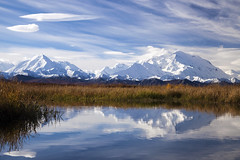 Fall in Denali (Critter Seeker) Tags: park travel blue autumn sky cloud white mountain lake snow mountains color reflection