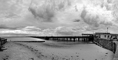 Ryde_Pier-mono (stugee) Tags: light sea sky people bw white black beach monochrome clouds canon dark eos mono pier sand noir angle wide tokina solent isle ultra f28 116 wight ryde noire uwa 60d 1116mm