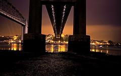 Under the Bridge (NikNak Allen) Tags: longexposure bridge sky clouds reflections river lights cornwall bridges plymouth devon citylights brunel saltash brunelbridge tamarbridge tamarbridgesessions