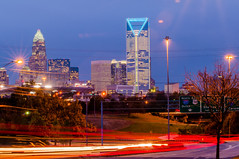 charlotte city skyline at night (DigiDreamGrafix.com) Tags: copyright streets architecture modern buildings lights evening action trails busy metropolis copyrighted 2013 charlottecity skylineatnight
