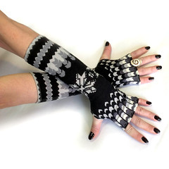 Christmas Arm Warmers, fingerless gloves , mittens - wrist warmers , cuffs , Limited Edition (anuchka2010) Tags: blackandwhite snowflakes gloves gift accessories cuff mittens armwarmers handwarmers christmasgift fingerless fingerlessgloves gothicvictorian wintergloves armsleeves