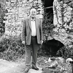 Happy grandpa (Salt.as) Tags: bw white black 120 6x6 film monochrome analog grandfather greece figure medium format 100 kiev vega 6c ilford fp4 pappous 12b