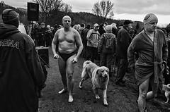 Winter swimmers II (Petr Kleiner) Tags: winter dog white man black tree face swim river naked pentax swimmers googles petrkleiner porttreiture