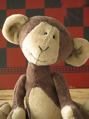 Marty Monkey (The Craggy Moor) Tags: brown art wool animal woodland monkey friend doll dolls handmade folk ooak sewing tan craft cotton monkeys collectible crafting jointed craggymoor