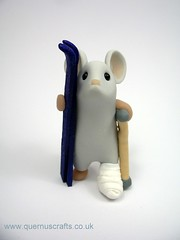 Skiing Accident Mouse (Quernus Crafts) Tags: cute mouse skiing plaster polymerclay skis crutch brokenleg quernuscrafts