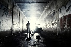 Man And Machine (JAZ-art) Tags: street urban storm water ride under bob ground harley drain hoody cave clan davidson outfall urbex dyna hardkore