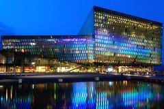 Light Show (Petur 'Wazhur' Jonsson) Tags: show city light reflection glass architecture night canon buildings eos hall iceland concert reykjavik theharp efs 30d 1755 harpa