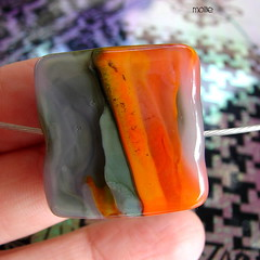 Mollie (Laura Blanck Openstudio) Tags: show pink orange black art glass lines yellow coral festival tile square necklace beads big shiny colorful warm published artist bright handmade contemporary unique stripes fine gray arts lavender funky jewelry holes odd lilac single winner huge slate shape kiln murano rare maize lampwork beaded multicolor artisan pendant choker bold whimsical assymetric greenish openstudio ocher focal annealed openstudiobeads