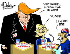 1016 vegas debate cartoon (DSL art and photos) Tags: editorialcartoon donlee donaldtrump hillaryclinton presidential election debate lasvegas