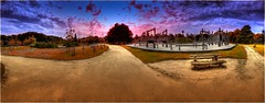 HDR look PANORAMA (aminekaytoni) Tags: sony dscwx300 sky panorama sunset sunrise park parque arbres bomen trees road routes nature belgium belgique belgie diest exterieur outside chaise stoel ciel hdr national geographic ngc light artistic artistique halve maan
