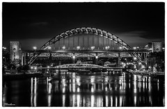 Bridges over the river Tyne, Northeast UK (stblackburn) Tags: newcastle northeast night tyne toon river reflection bridge bw gateshead geordies quayside tynequayside swing high level