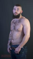 nice bit o' kit (theydontknow) Tags: 85mm shirtless beard nikon d810 hunky hairy chest denim jeans river island beefcake