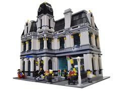 Police Headquarters (Dakar A) Tags: modular police headquarters lego building moc city garage white black darkblue facade