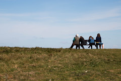 Just Waiting (Neyol) Tags: hengistburyhead dorset bench people landscape color colour blue green grass sky neyol canon 70d