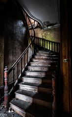 Escalera bicolor (Perurena) Tags: escalera stairs peldaños madera wood abandono decay ruina escombros polvo dust suciedad dusty pasamanos mansión casa house urbex urbanexplore